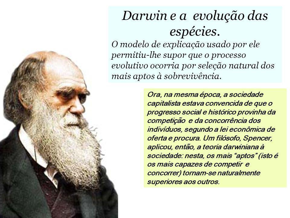 Darwin e a evolução das espécies. O modelo de explicação usado por ele permitiu-lhe supor que o processo evolutivo ocorria por seleção natural dos mai