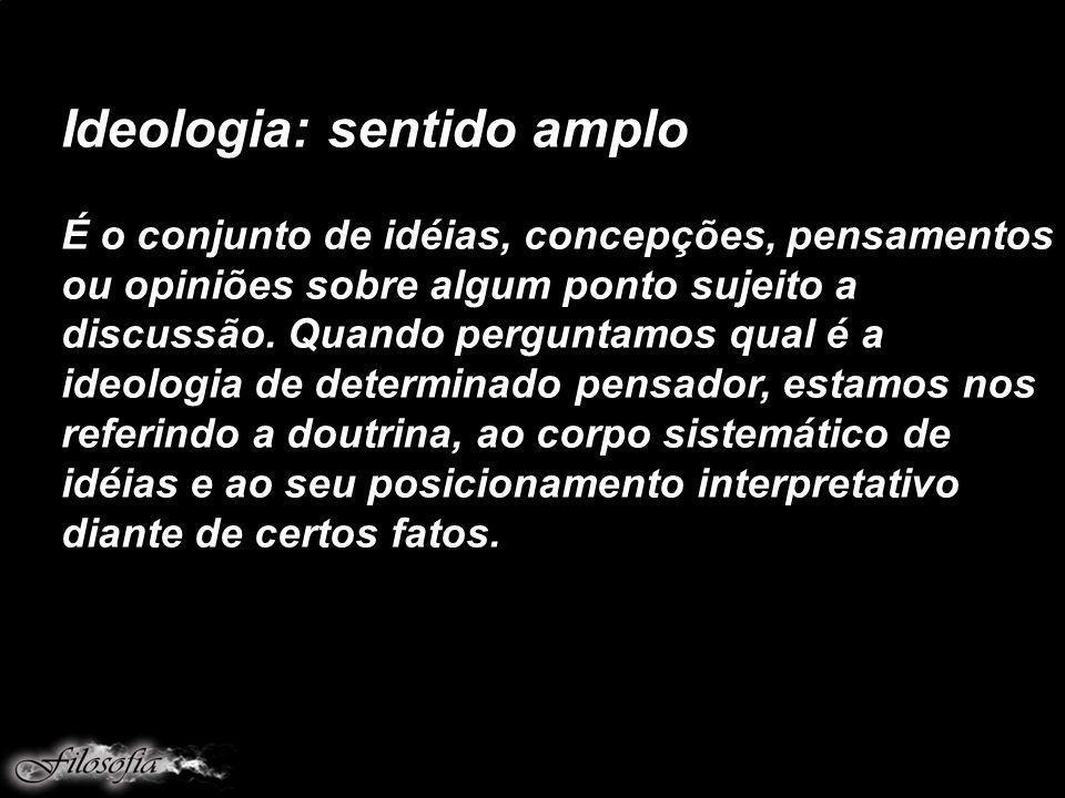 Ideologia: sentido amplo É o conjunto de idéias, concepções, pensamentos ou opiniões sobre algum ponto sujeito a discussão. Quando perguntamos qual é