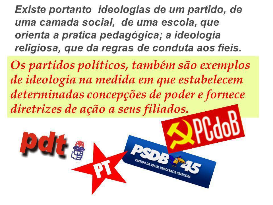 Existe portanto ideologias de um partido, de uma camada social, de uma escola, que orienta a pratica pedagógica; a ideologia religiosa, que da regras
