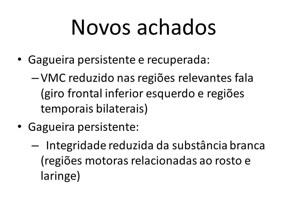 Novos achados Gagueira persistente e recuperada: – VMC reduzido nas regiões relevantes fala (giro frontal inferior esquerdo e regiões temporais bilate