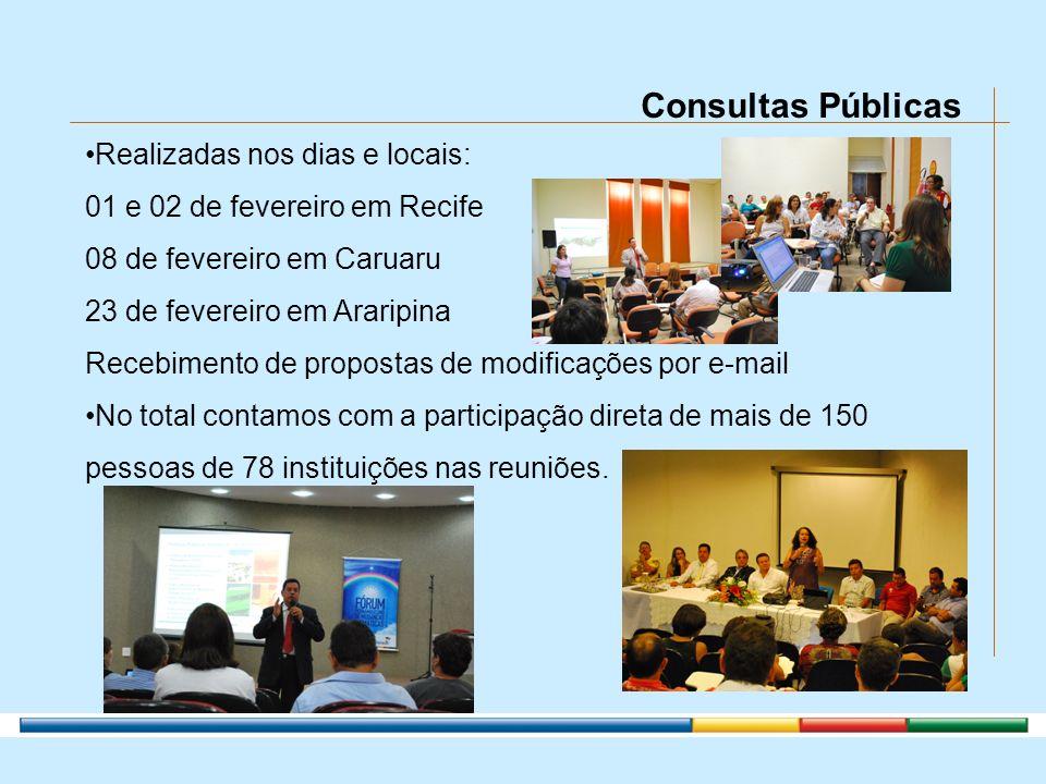 Consultas Públicas Realizadas nos dias e locais: 01 e 02 de fevereiro em Recife 08 de fevereiro em Caruaru 23 de fevereiro em Araripina Recebimento de