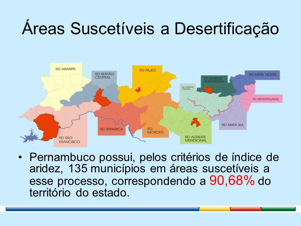 Áreas Suscetíveis a Desertificação Pernambuco possui, pelos critérios de índice de aridez, 135 municípios em áreas suscetíveis a esse processo, corres