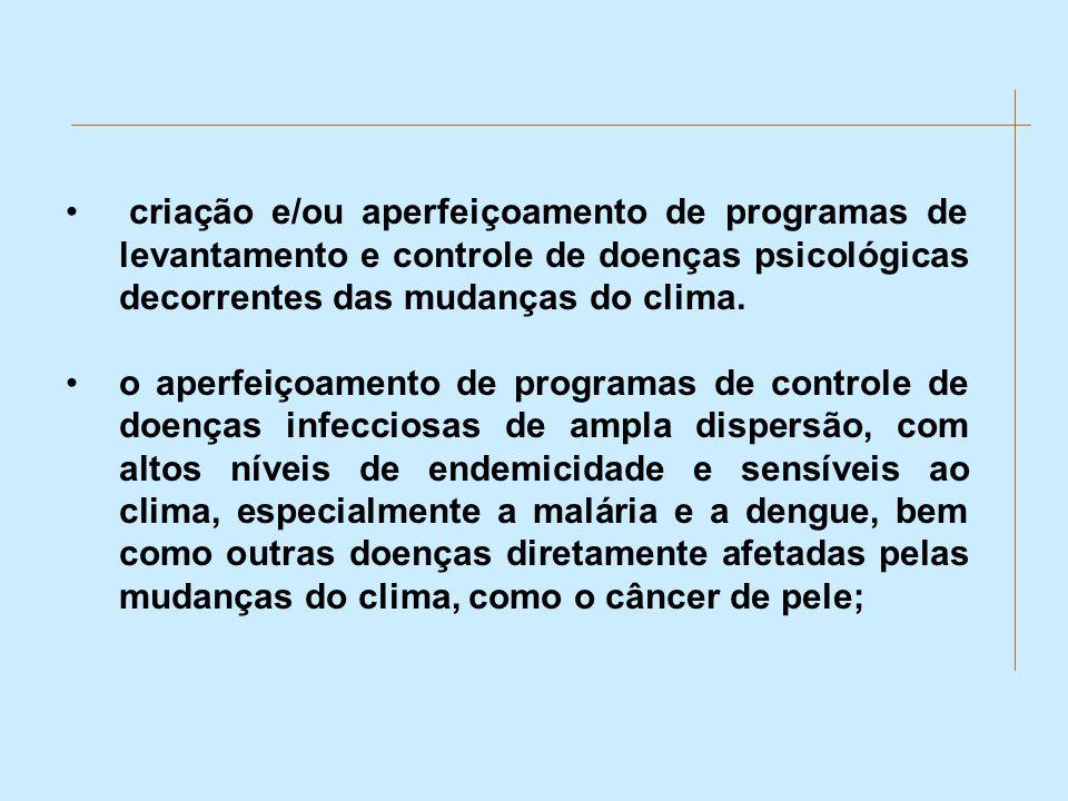 criação e/ou aperfeiçoamento de programas de levantamento e controle de doenças psicológicas decorrentes das mudanças do clima. o aperfeiçoamento de p