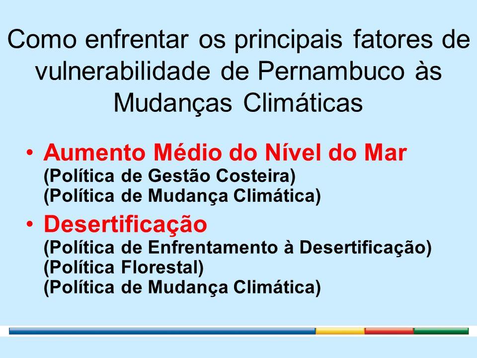 Como enfrentar os principais fatores de vulnerabilidade de Pernambuco às Mudanças Climáticas Aumento Médio do Nível do Mar (Política de Gestão Costeir