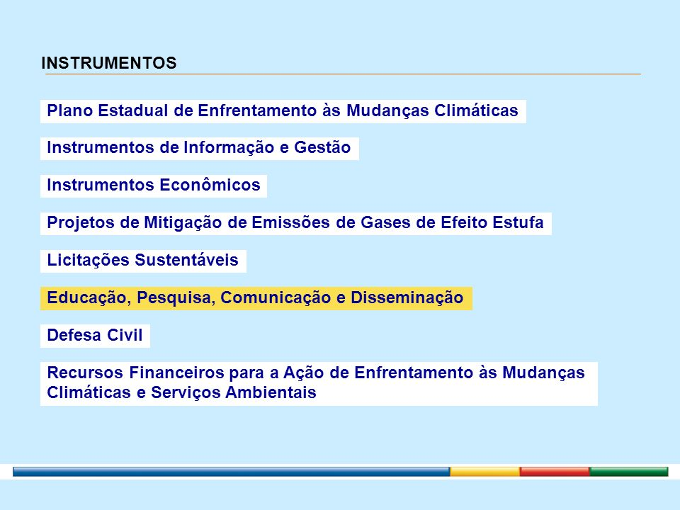 INSTRUMENTOS Plano Estadual de Enfrentamento às Mudanças Climáticas Instrumentos de Informação e Gestão Instrumentos Econômicos Projetos de Mitigação