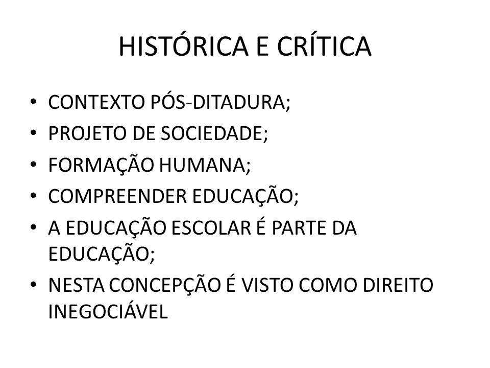 HISTÓRICA E CRÍTICA CONTEXTO PÓS-DITADURA; PROJETO DE SOCIEDADE; FORMAÇÃO HUMANA; COMPREENDER EDUCAÇÃO; A EDUCAÇÃO ESCOLAR É PARTE DA EDUCAÇÃO; NESTA
