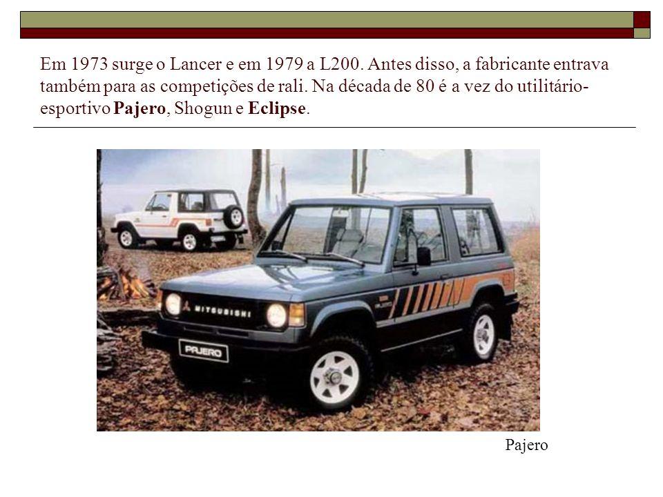 Em 1973 surge o Lancer e em 1979 a L200. Antes disso, a fabricante entrava também para as competições de rali. Na década de 80 é a vez do utilitário-