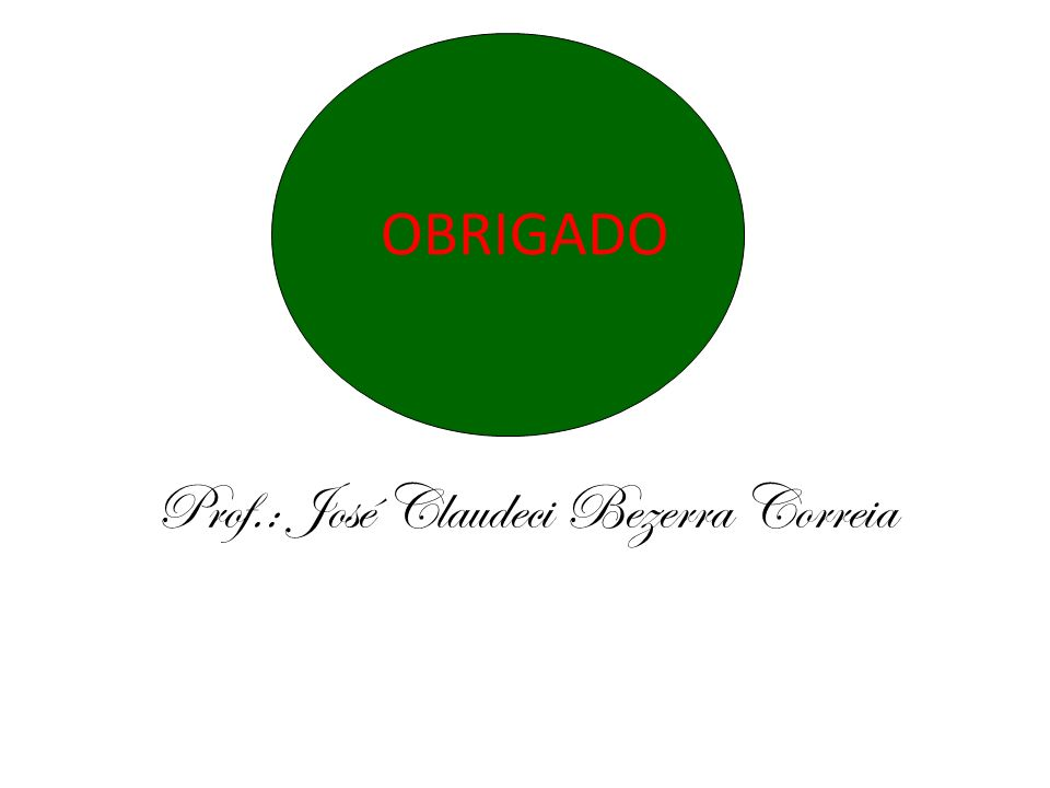 OBRIGADO Prof.: José Claudeci Bezerra Correia