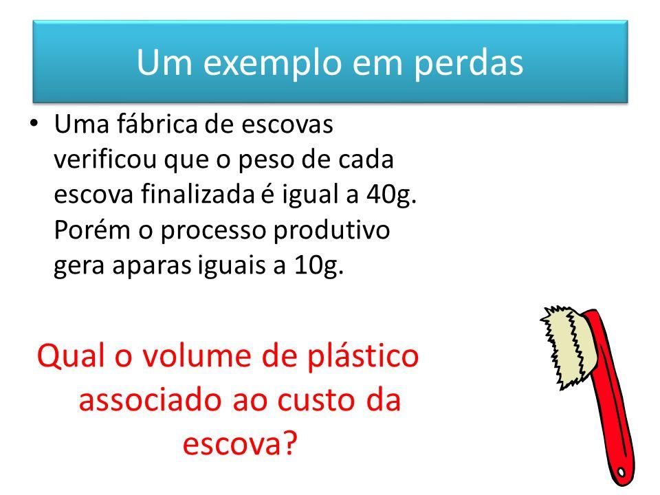 Um exemplo em perdas Uma fábrica de escovas verificou que o peso de cada escova finalizada é igual a 40g. Porém o processo produtivo gera aparas iguai