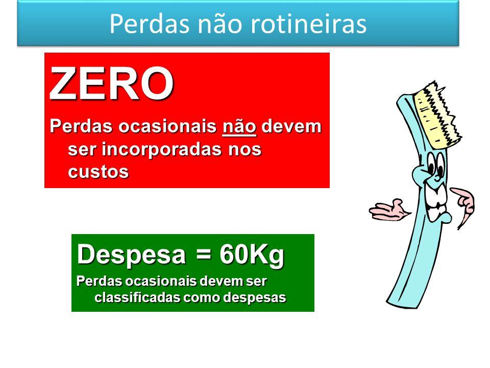 Perdas não rotineiras ZERO Perdas ocasionais não devem ser incorporadas nos custos Despesa = 60Kg Perdas ocasionais devem ser classificadas como despe