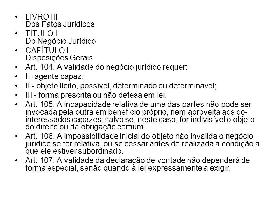 LIVRO III Dos Fatos Jurídicos TÍTULO I Do Negócio Jurídico CAPÍTULO I Disposições Gerais Art. 104. A validade do negócio jurídico requer: I - agente c