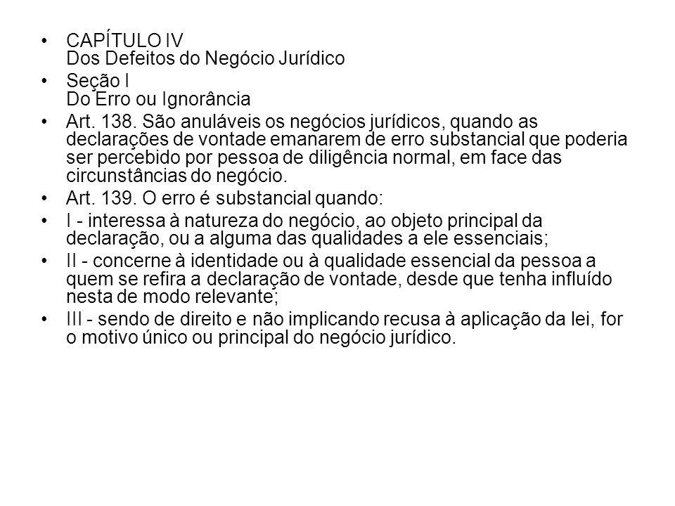 CAPÍTULO IV Dos Defeitos do Negócio Jurídico Seção I Do Erro ou Ignorância Art. 138. São anuláveis os negócios jurídicos, quando as declarações de von