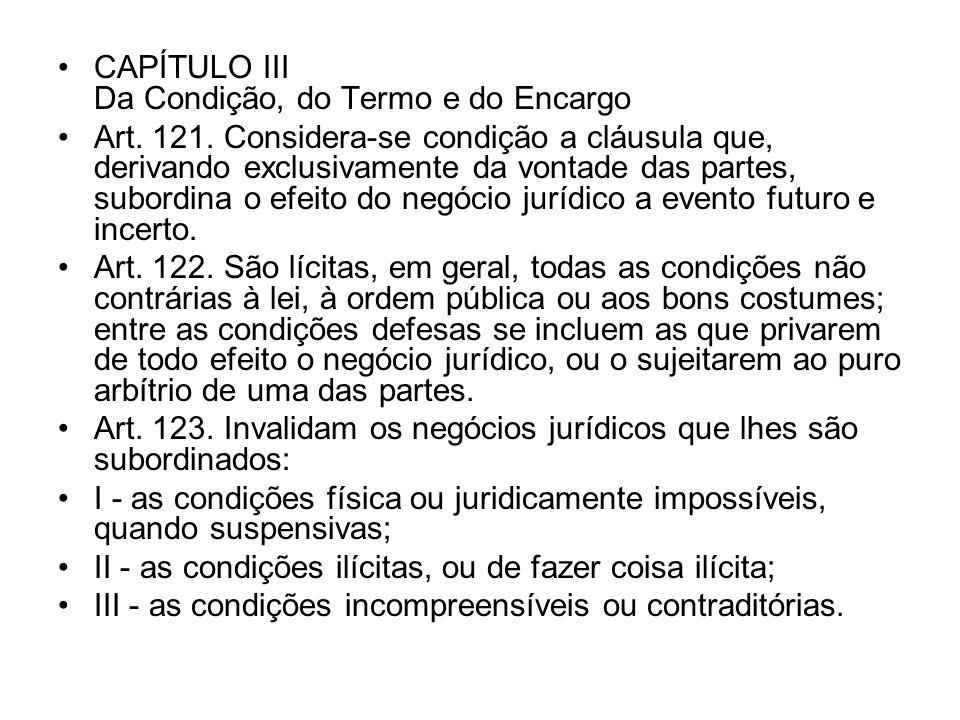 CAPÍTULO III Da Condição, do Termo e do Encargo Art. 121. Considera-se condição a cláusula que, derivando exclusivamente da vontade das partes, subord