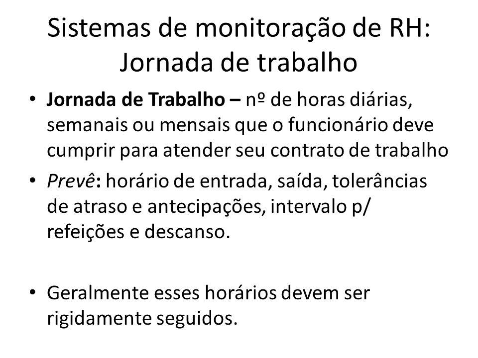 Sistemas de monitoração de RH: Jornada de trabalho Jornada de Trabalho – nº de horas diárias, semanais ou mensais que o funcionário deve cumprir para