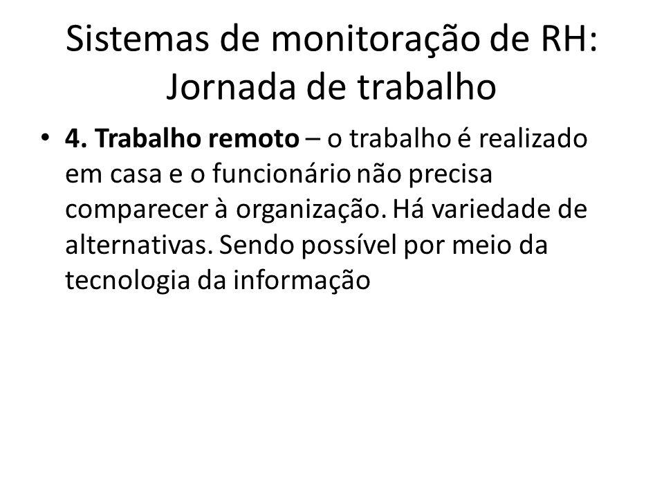 Sistemas de monitoração de RH: Jornada de trabalho 4. Trabalho remoto – o trabalho é realizado em casa e o funcionário não precisa comparecer à organi