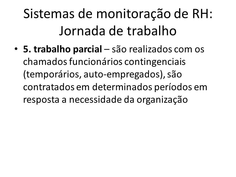 Sistemas de monitoração de RH: Jornada de trabalho 5. trabalho parcial – são realizados com os chamados funcionários contingenciais (temporários, auto