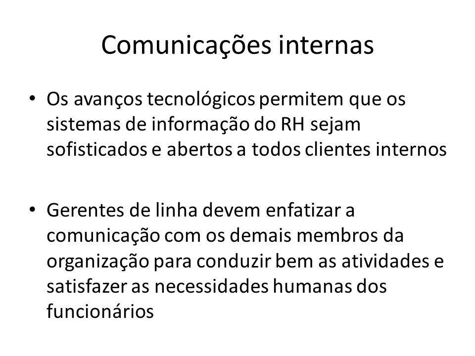 Comunicações internas Os avanços tecnológicos permitem que os sistemas de informação do RH sejam sofisticados e abertos a todos clientes internos Gere
