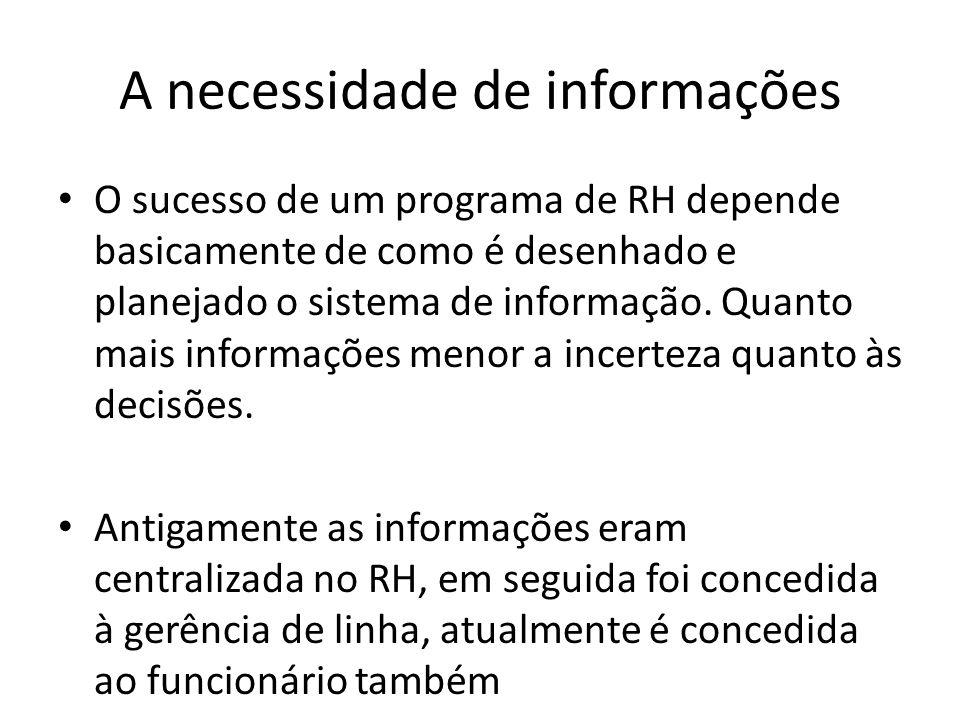 A necessidade de informações O sucesso de um programa de RH depende basicamente de como é desenhado e planejado o sistema de informação. Quanto mais i