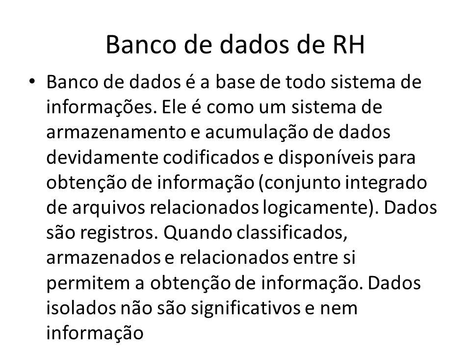 Banco de dados de RH A Gestão de Pessoas requer vários bancos de dados interligados, como: 1.