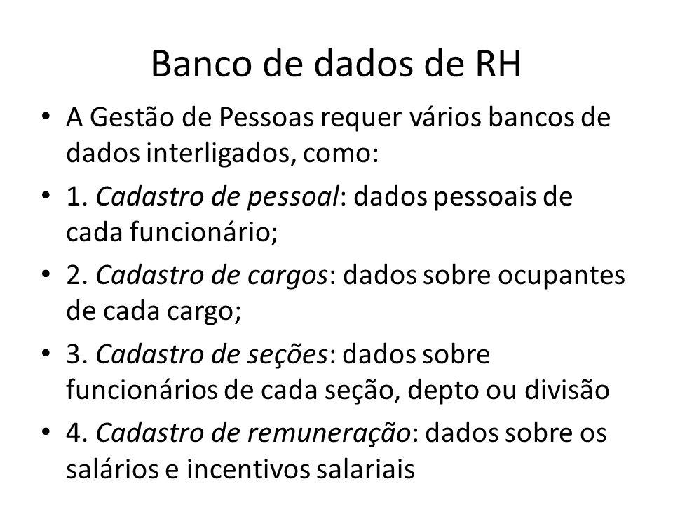Banco de dados de RH A Gestão de Pessoas requer vários bancos de dados interligados, como: 1. Cadastro de pessoal: dados pessoais de cada funcionário;