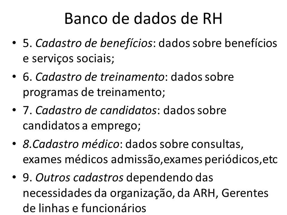 Banco de dados de RH 5. Cadastro de benefícios: dados sobre benefícios e serviços sociais; 6. Cadastro de treinamento: dados sobre programas de treina