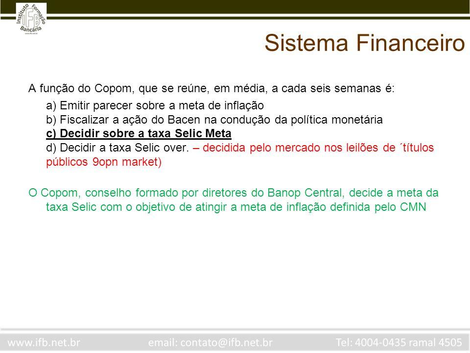 Sistema Financeiro A função do Copom, que se reúne, em média, a cada seis semanas é: a) Emitir parecer sobre a meta de inflação b) Fiscalizar a ação d