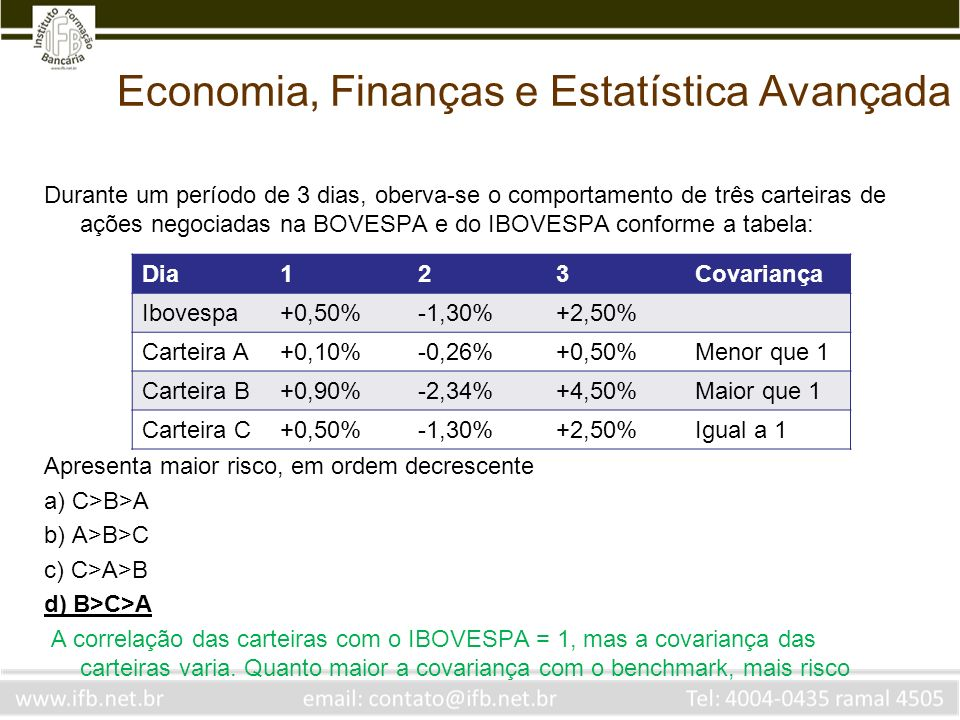 Economia, Finanças e Estatística Avançada Durante um período de 3 dias, oberva-se o comportamento de três carteiras de ações negociadas na BOVESPA e d