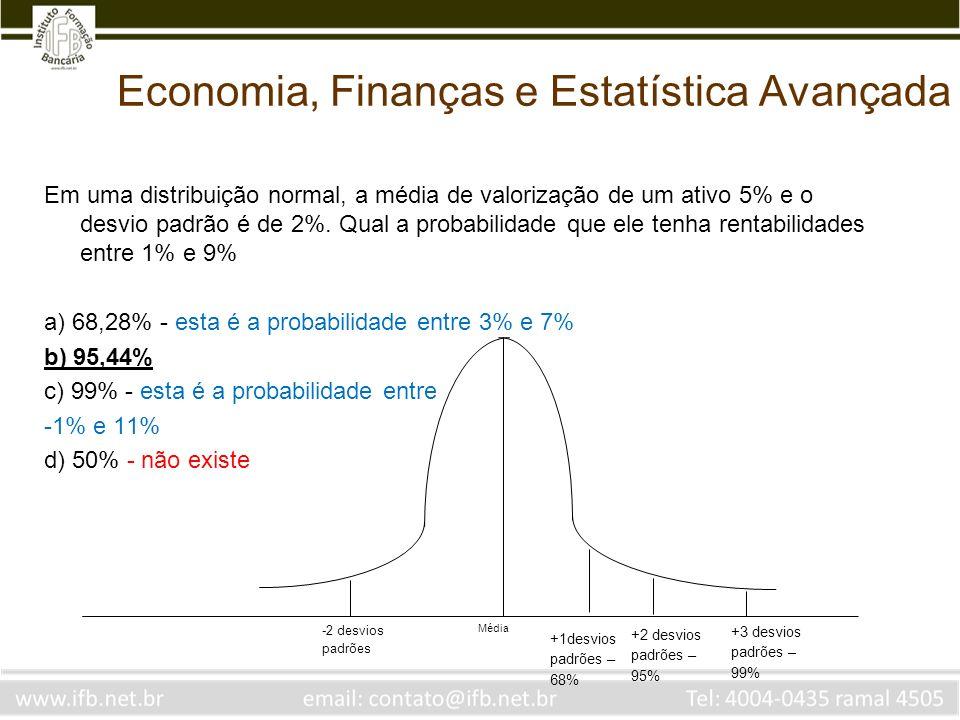 Economia, Finanças e Estatística Avançada Em uma distribuição normal, a média de valorização de um ativo 5% e o desvio padrão é de 2%. Qual a probabil