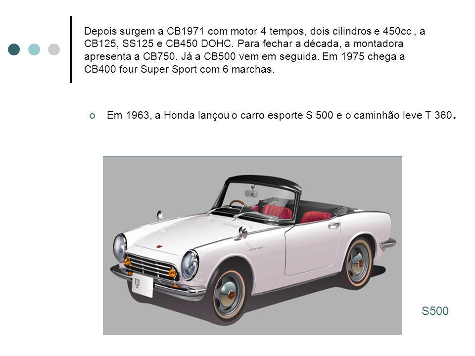Depois surgem a CB1971 com motor 4 tempos, dois cilindros e 450cc, a CB125, SS125 e CB450 DOHC. Para fechar a década, a montadora apresenta a CB750. J