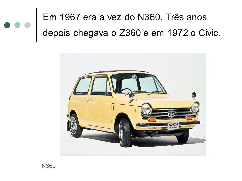 Em 1967 era a vez do N360. Três anos depois chegava o Z360 e em 1972 o Civic. N360