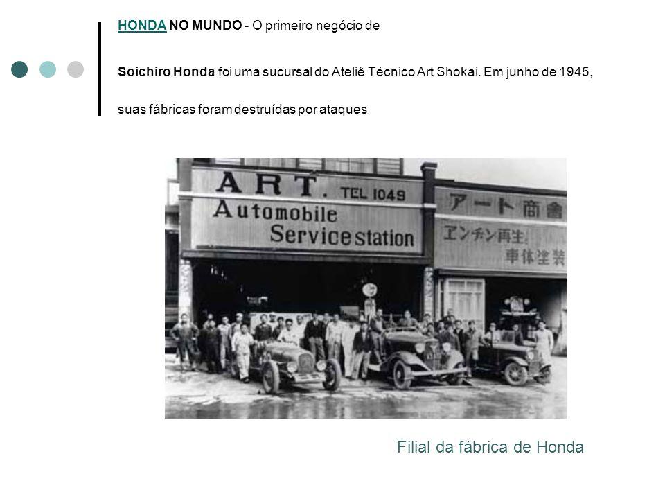 HONDAHONDA NO MUNDO - O primeiro negócio de Soichiro Honda foi uma sucursal do Ateliê Técnico Art Shokai. Em junho de 1945, suas fábricas foram destru