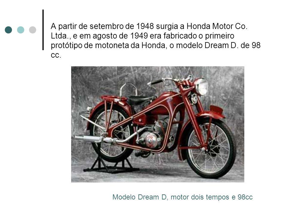 A partir de setembro de 1948 surgia a Honda Motor Co. Ltda., e em agosto de 1949 era fabricado o primeiro protótipo de motoneta da Honda, o modelo Dre