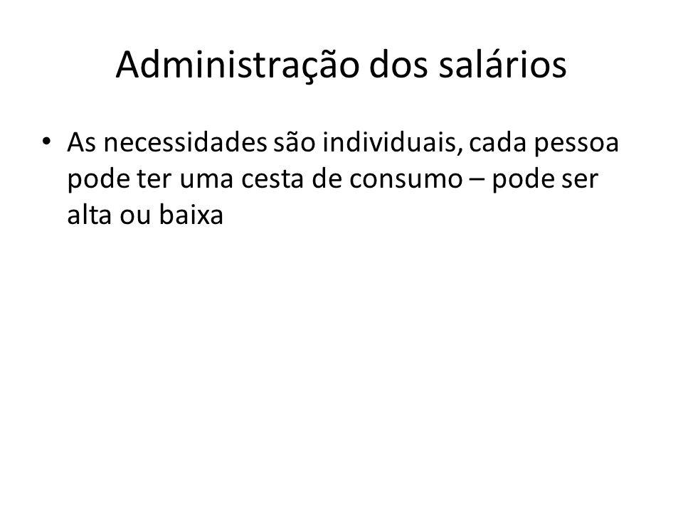 Administração dos salários As necessidades são individuais, cada pessoa pode ter uma cesta de consumo – pode ser alta ou baixa