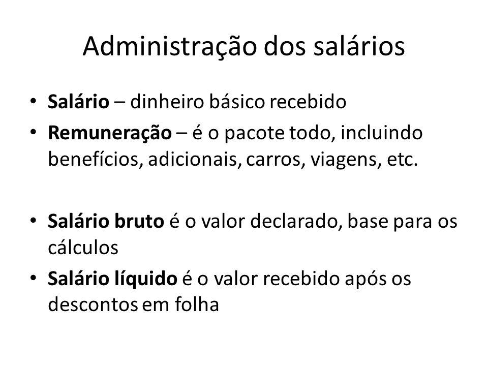 Administração dos salários Salário – dinheiro básico recebido Remuneração – é o pacote todo, incluindo benefícios, adicionais, carros, viagens, etc. S