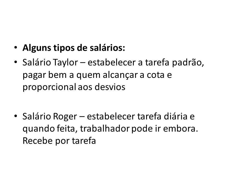 Alguns tipos de salários: Salário Taylor – estabelecer a tarefa padrão, pagar bem a quem alcançar a cota e proporcional aos desvios Salário Roger – es