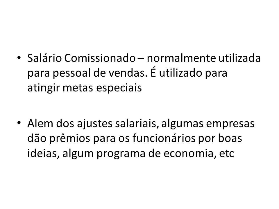 Salário Comissionado – normalmente utilizada para pessoal de vendas. É utilizado para atingir metas especiais Alem dos ajustes salariais, algumas empr