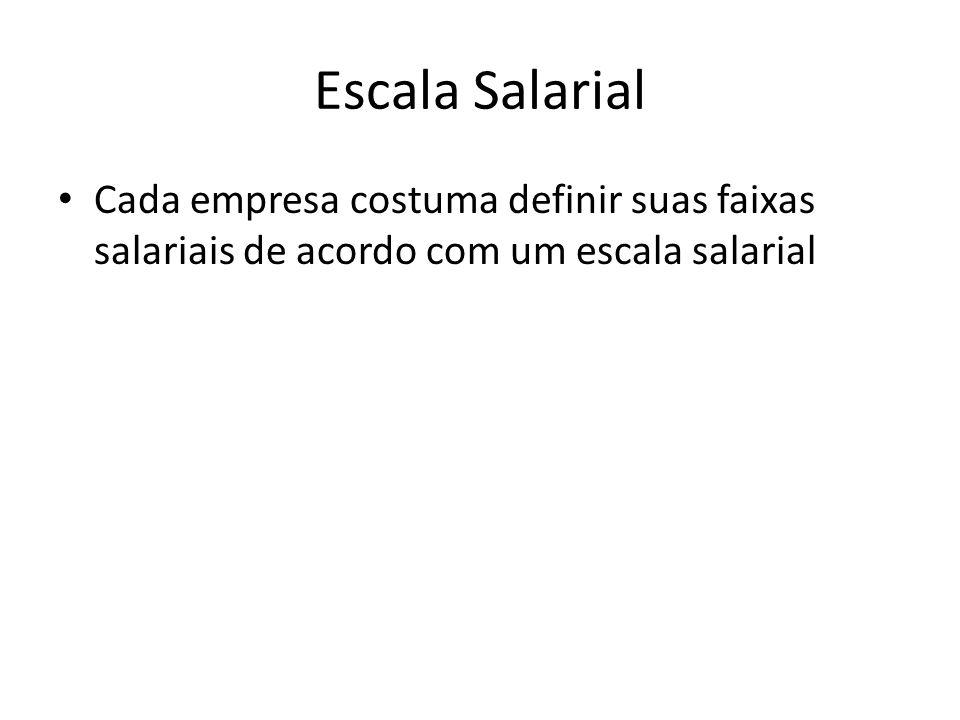 Escala Salarial Cada empresa costuma definir suas faixas salariais de acordo com um escala salarial