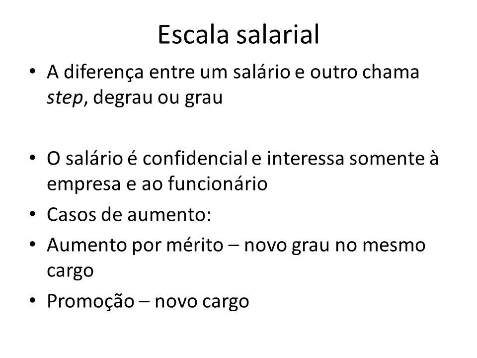 A diferença entre um salário e outro chama step, degrau ou grau O salário é confidencial e interessa somente à empresa e ao funcionário Casos de aumen