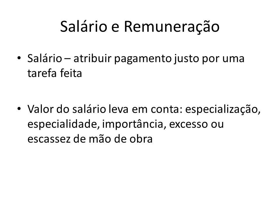 Salário e Remuneração Salário – atribuir pagamento justo por uma tarefa feita Valor do salário leva em conta: especialização, especialidade, importânc