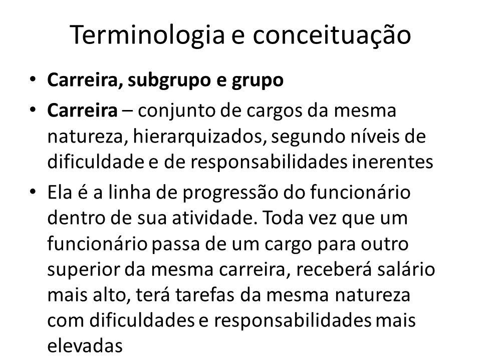 Terminologia e conceituação Carreira, subgrupo e grupo Carreira – conjunto de cargos da mesma natureza, hierarquizados, segundo níveis de dificuldade