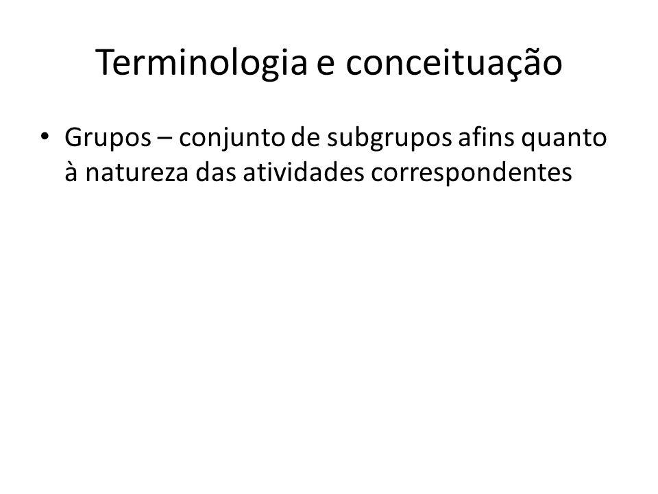 Terminologia e conceituação Grupos – conjunto de subgrupos afins quanto à natureza das atividades correspondentes