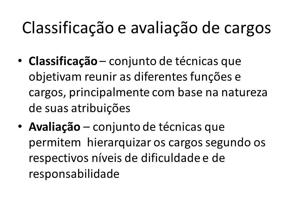 Classificação e avaliação de cargos Classificação – conjunto de técnicas que objetivam reunir as diferentes funções e cargos, principalmente com base
