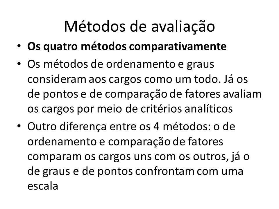 Métodos de avaliação Os quatro métodos comparativamente Os métodos de ordenamento e graus consideram aos cargos como um todo. Já os de pontos e de com