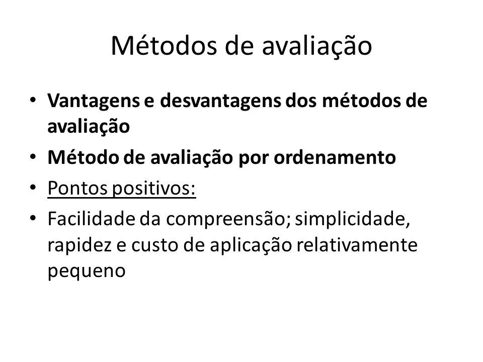 Métodos de avaliação Vantagens e desvantagens dos métodos de avaliação Método de avaliação por ordenamento Pontos positivos: Facilidade da compreensão