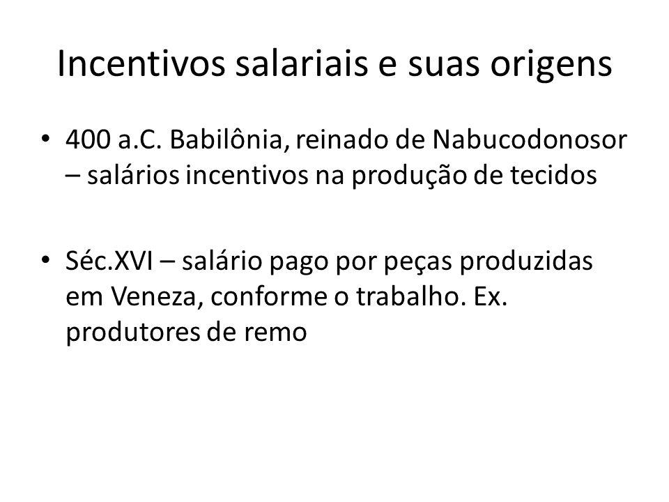 Incentivos salariais e suas origens 400 a.C. Babilônia, reinado de Nabucodonosor – salários incentivos na produção de tecidos Séc.XVI – salário pago p