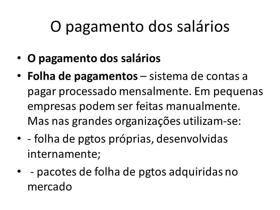 O pagamento dos salários Folha de pagamentos – sistema de contas a pagar processado mensalmente. Em pequenas empresas podem ser feitas manualmente. Ma