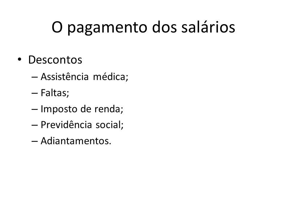 O pagamento dos salários Descontos – Assistência médica; – Faltas; – Imposto de renda; – Previdência social; – Adiantamentos.