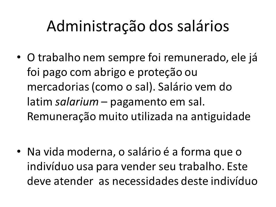 Administração dos salários O trabalho nem sempre foi remunerado, ele já foi pago com abrigo e proteção ou mercadorias (como o sal). Salário vem do lat