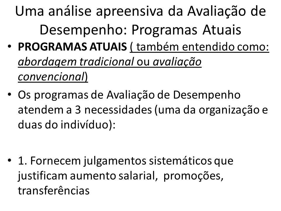 Uma análise apreensiva da Avaliação de Desempenho: Programas Atuais PROGRAMAS ATUAIS ( também entendido como: abordagem tradicional ou avaliação conve