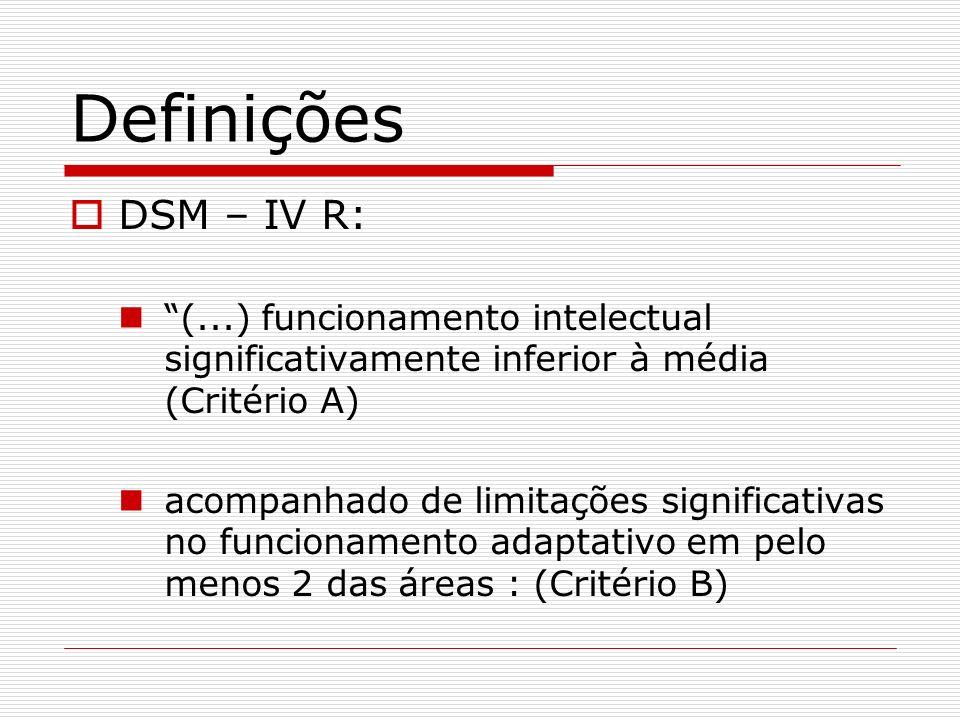 Definições DSM – IV R: (...) funcionamento intelectual significativamente inferior à média (Critério A) acompanhado de limitações significativas no fu
